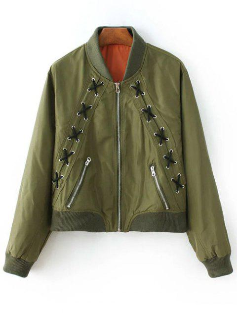 shop Zipped Lace Up Bomber Jacket - ARMY GREEN M Mobile