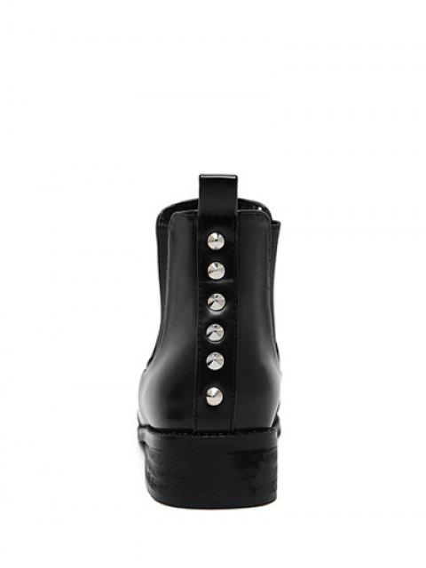 outfit Pointed Toe Rivets Elastic Band Ankle Boots - BLACK 39 Mobile