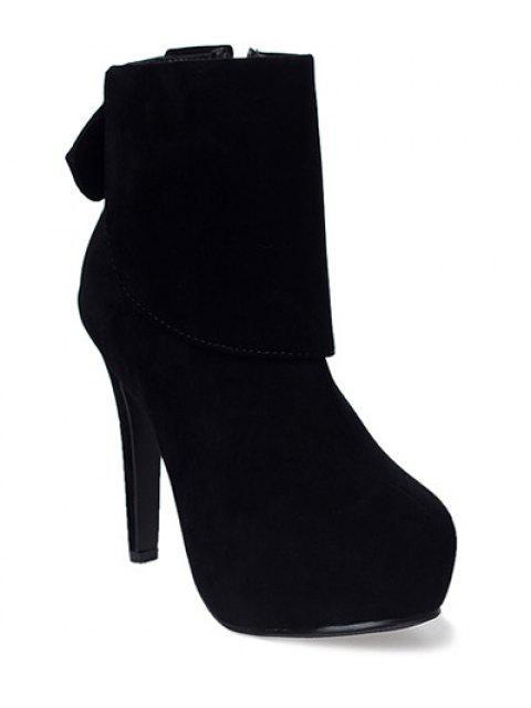 sale Bowknot Zipper Flock Short Boots - BLACK 37 Mobile