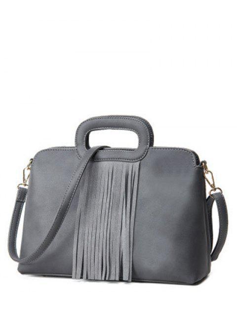 Fringe métal PU cuir sac fourre-tout - Gris  Mobile