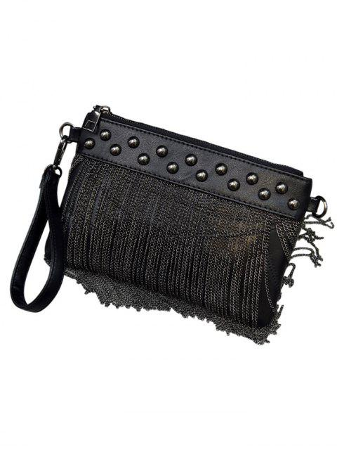 hot Chains PU Leather Fringe Clutch Bag - BLACK  Mobile