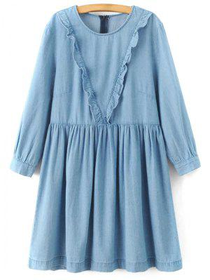 Frilled A Line Denim Dress