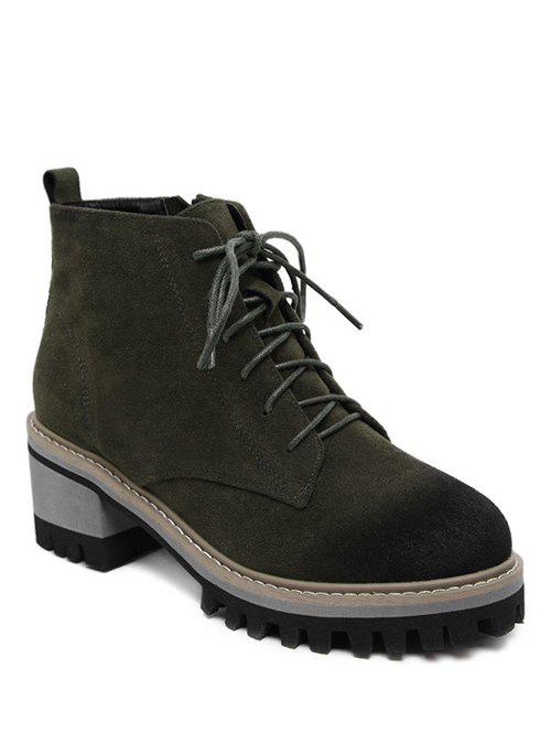 Dark Colour Platform Tie Ankle Boots - ARMY GREEN 39