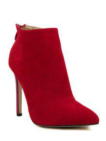 Pointed Tie Flock Zipper Ankle Boots - Red 40