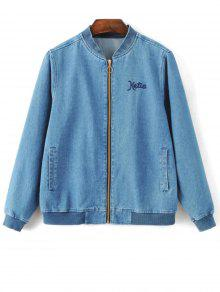 Embroidered Zipped Denim Jacket - Denim Blue L