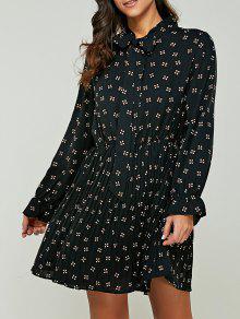 المطبوعة القوس التعادل طوق فستان الشيفون - أسود Xl