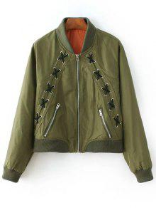 Zipped Lace Up Bomber Jacket - Army Green S
