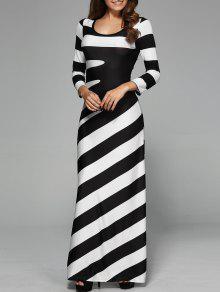 فستان مخطط ماكسي مع أكمام - أبيض وأسود M