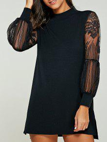 Vestido De Suéter De Cuello Tortuga Empalmado De Encaje - Negro 4xl