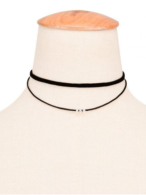 Faux cuero cuerda con cuentas en capas Gargantilla - Negro
