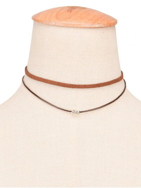 shop Faux Leather Rope Beaded Layered Choker - BROWN