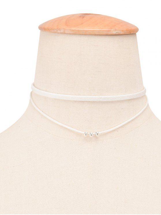 حبل جلدية فو مطرز الطبقات المختنق - أبيض