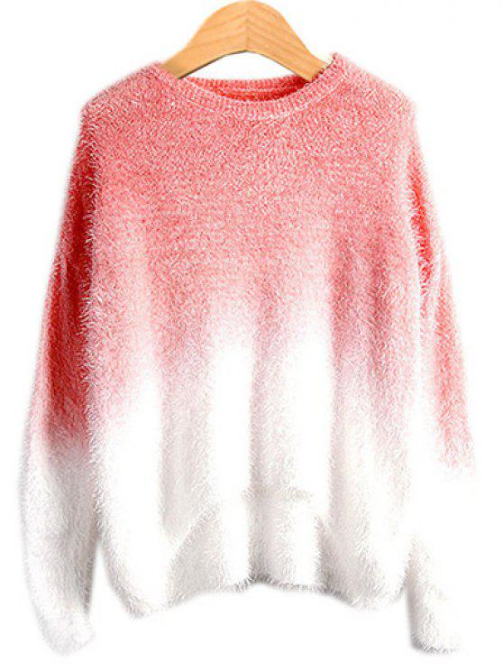 affordable Ombre Mohair Sweater - WATERMELON RED ONE SIZE