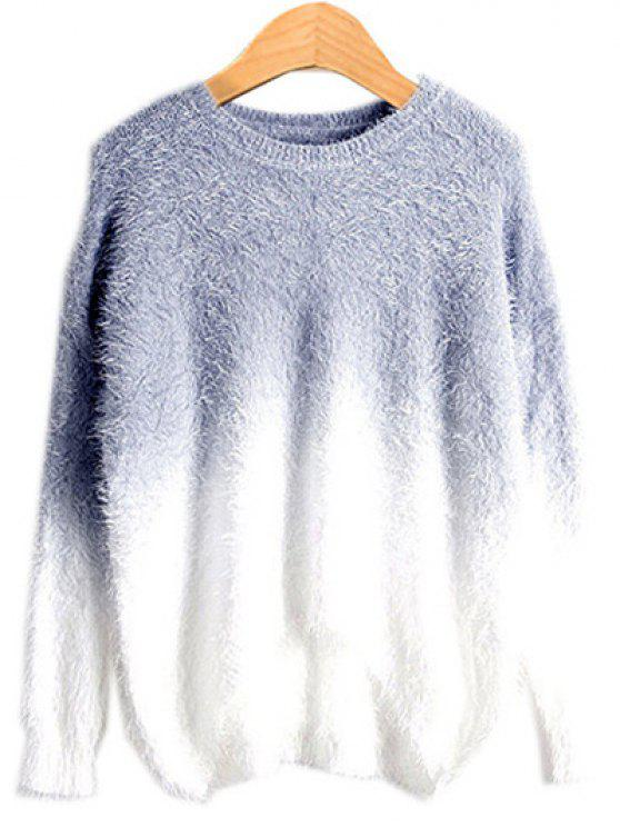 womens Ombre Mohair Sweater - SMOKY GRAY ONE SIZE