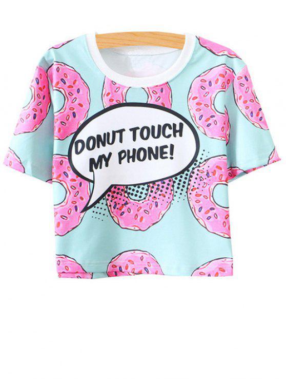 latest Jewel Neck Doughnut Print T-Shirt - MULTI ONE SIZE