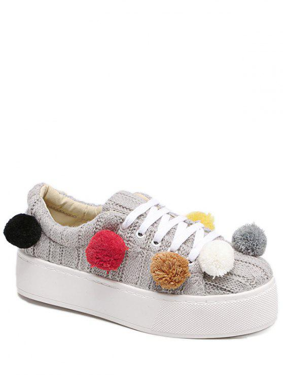 womens Pompoms Tie Up Knitting Platform Shoes - LIGHT GRAY 38