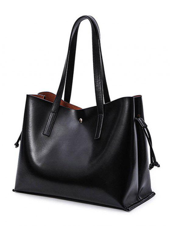 women Drawstring Magnetic Closure PU Leather Shoulder Bag - BLACK