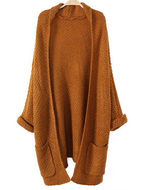 Gilet tricoté à larges mailles avec poches - Curcumae TAILLE MOYENNE