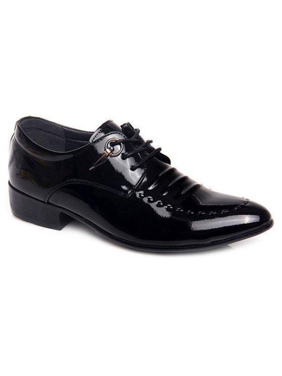 المعادن براءات الاختراع والجلود الدانتيل يصل الأحذية الرسمية - أسود 44