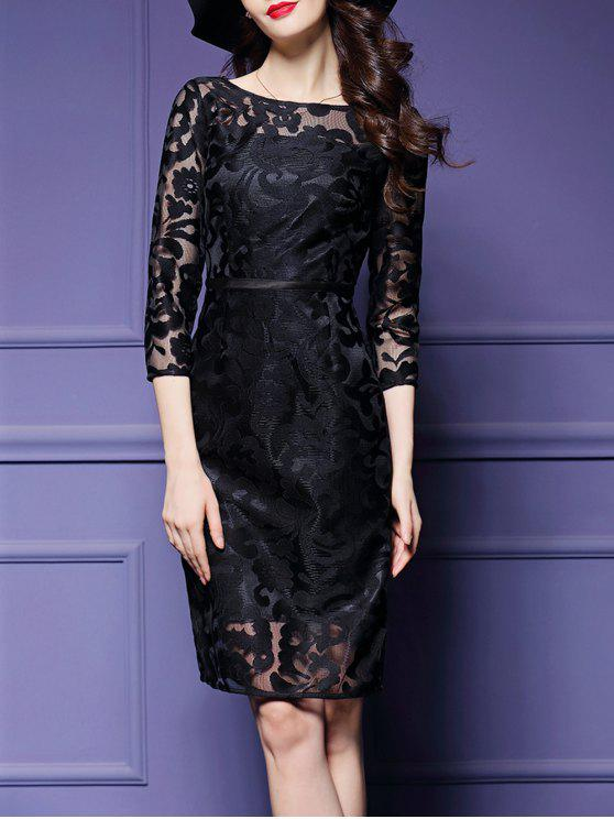 فستان شفاف مطرز - أسود L