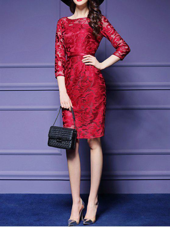 فستان شفاف مطرز - أحمر XL