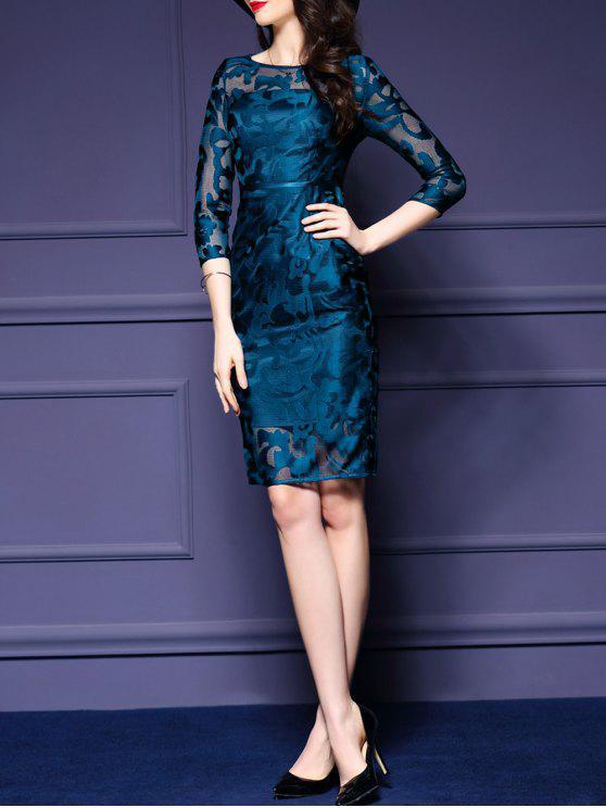 فستان شفاف مطرز - الطاووس الأزرق L
