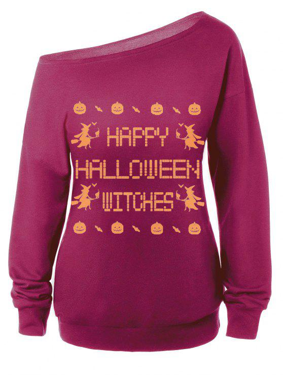 Sweat-shirt Encolure Cloutée Halloween Imprimé Message - Bordeaux S