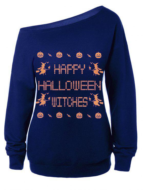 Sweat-shirt Encolure Cloutée Halloween Imprimé Message - Bleu L