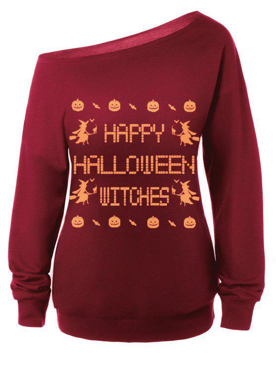 Sweat-shirt Encolure Cloutée Halloween Imprimé Message - Rouge M