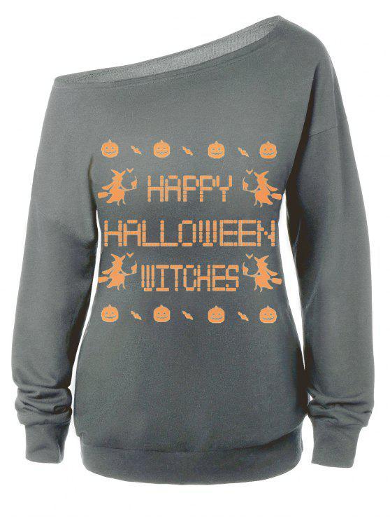 Sweat-shirt Encolure Cloutée Halloween Imprimé Message - Gris XL
