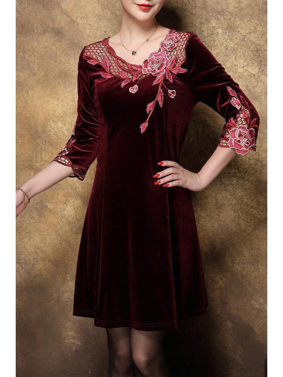 huge discount 6d5c3 f4be2 Openwork floreale ricamato il vestito di velluto