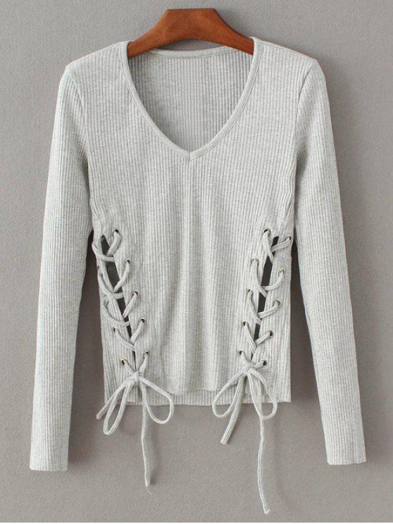 lady Grommet Lace Up Ribbed Jumper - GRAY S