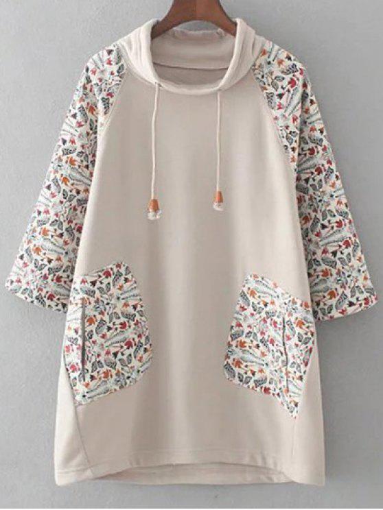fancy Loose Raglan Sleeve Sweatshirt - KHAKI 2XL