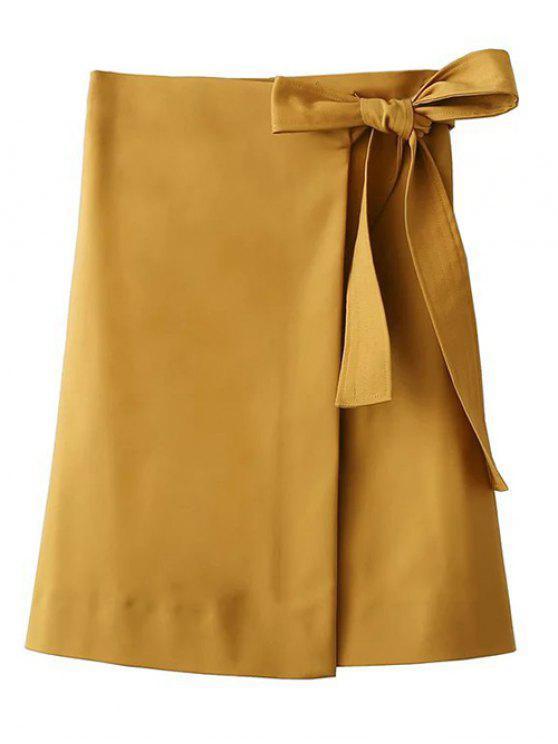 Asimétrica del bowknot falda de hendidura - Amarillo S