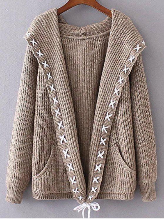 womens Hooded Cable Knit Cardigan - KHAKI ONE SIZE