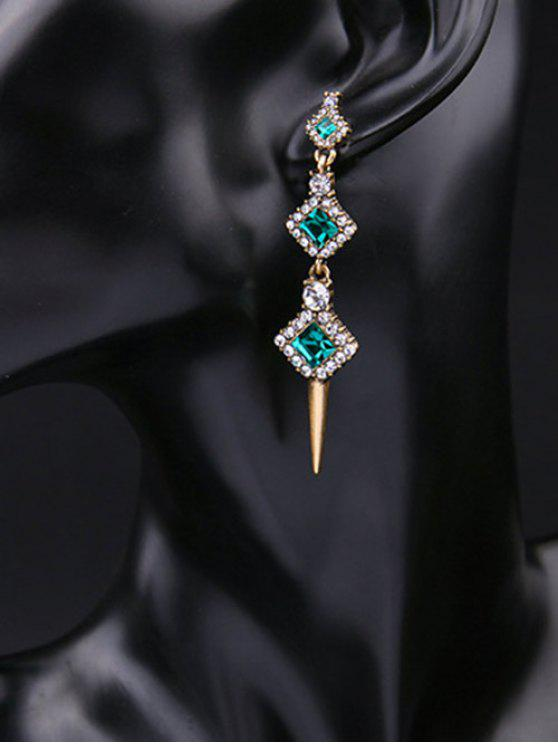 latest Rhinestone Faux Crystal Turquoise Stud Earrings - GREEN