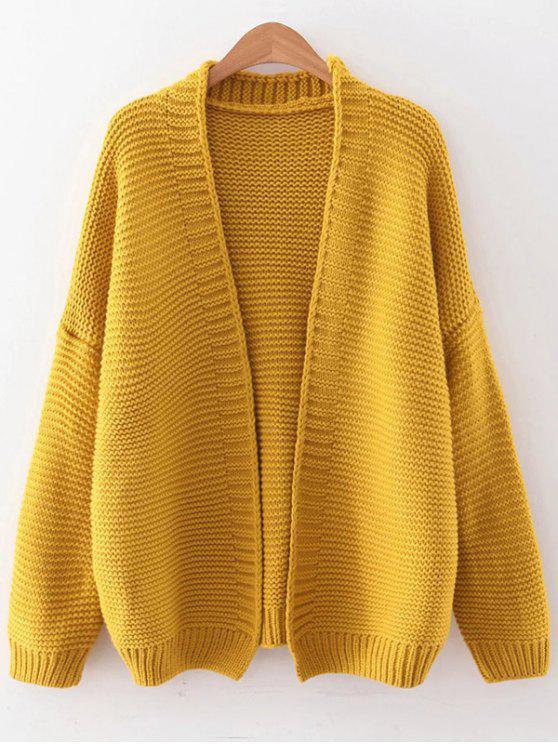 Caída de hombro abierto Cardigan - Amarillo Única Talla