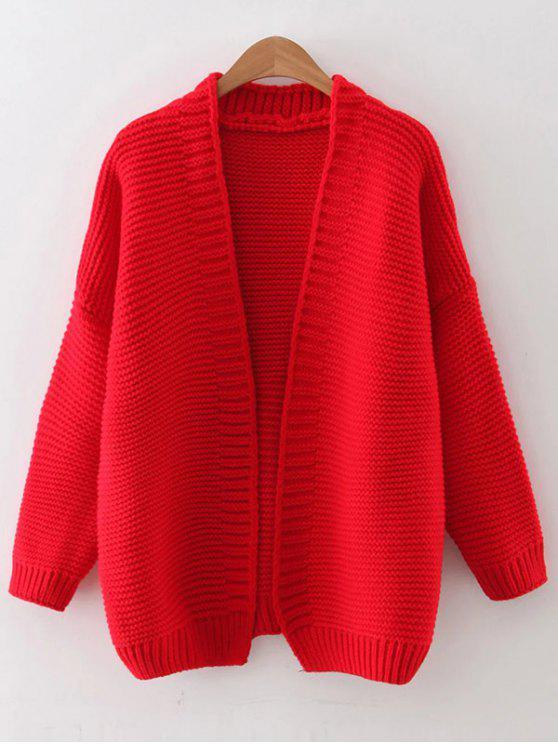 Baisse épaule Cardigan ouvert - Rouge Taille Unique