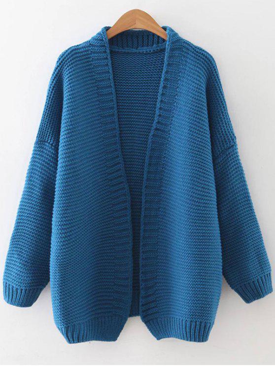 Caída de hombro abierto Cardigan - Azul Talla única