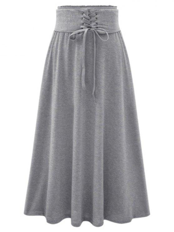 outfits Lace-Up Maxi Skirt - LIGHT GRAY ONE SIZE