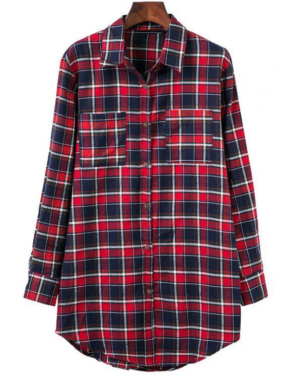 online Plaid Oversized Shirt - COLORMIX M
