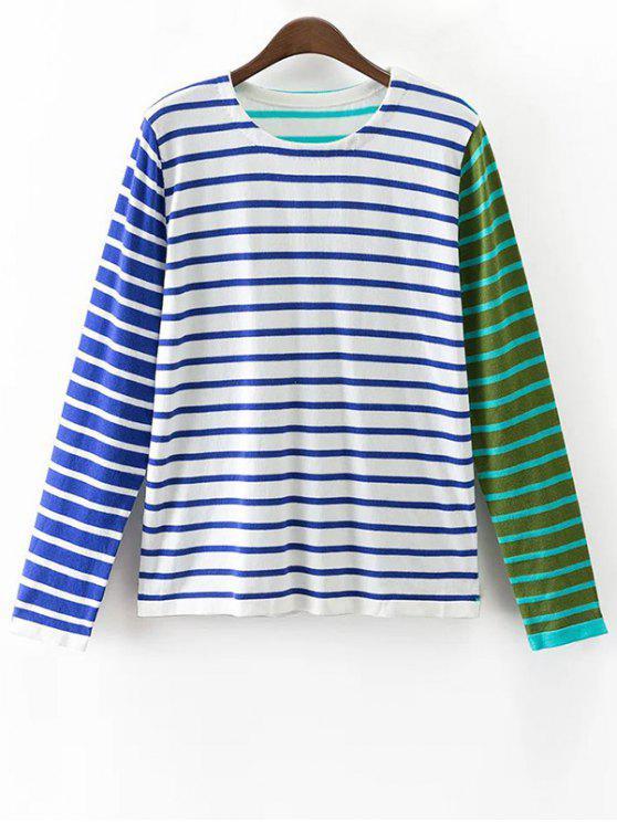 Colore a righe a blocchi a maniche lunghe T-shirt - colori misti M