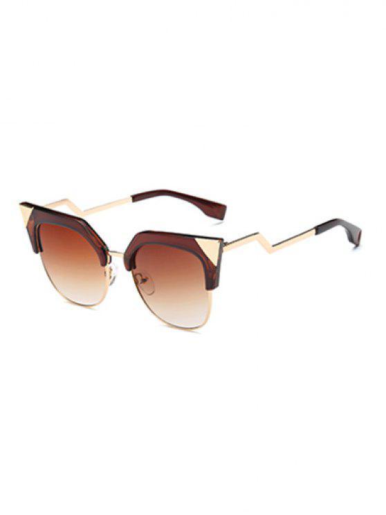 unique Triangle Zigzag Leg Cat Eye Sunglasses - TEA-COLORED