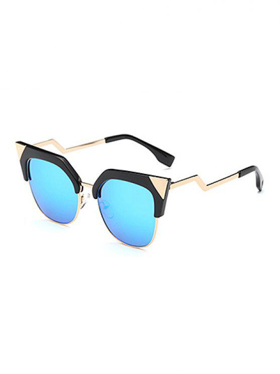 sale Triangle Zigzag Leg Cat Eye Mirrored Sunglasses - ICE BLUE