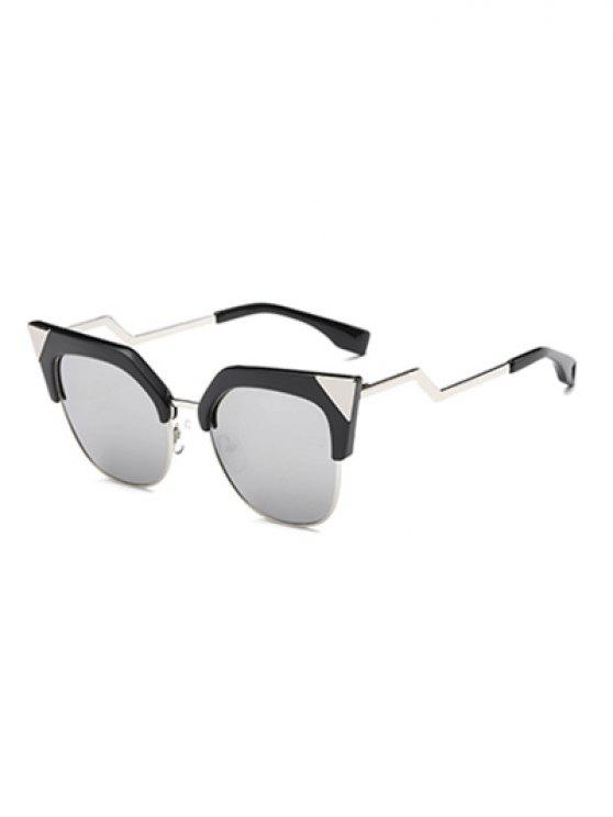 affordable Triangle Zigzag Leg Cat Eye Mirrored Sunglasses - SILVER