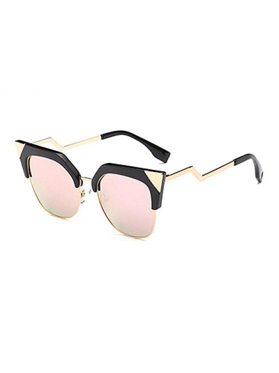 buy Triangle Zigzag Leg Cat Eye Mirrored Sunglasses - PINK