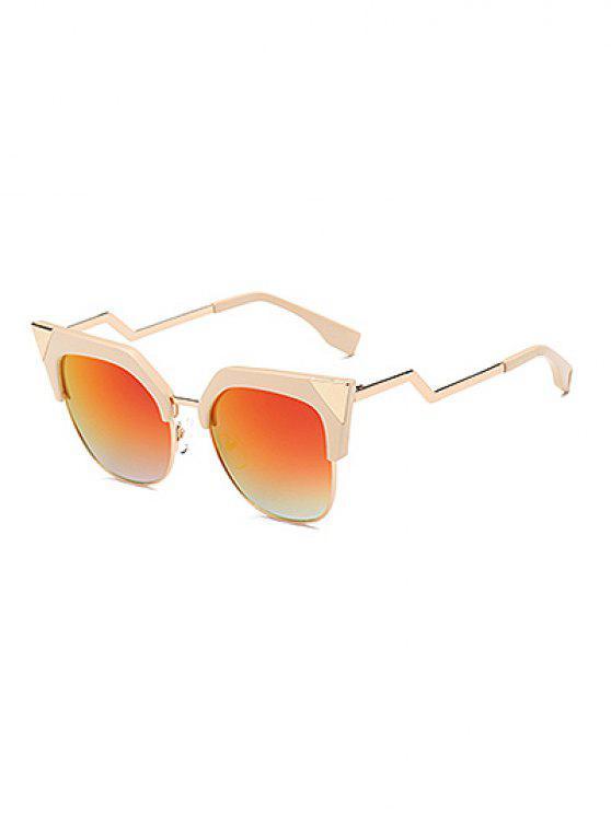 womens Triangle Zigzag Leg Cat Eye Mirrored Sunglasses - WHITE