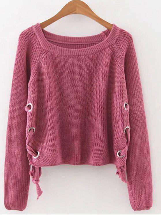 shop Grommet Lace Up Raglan Sleeve Jumper - RED ONE SIZE