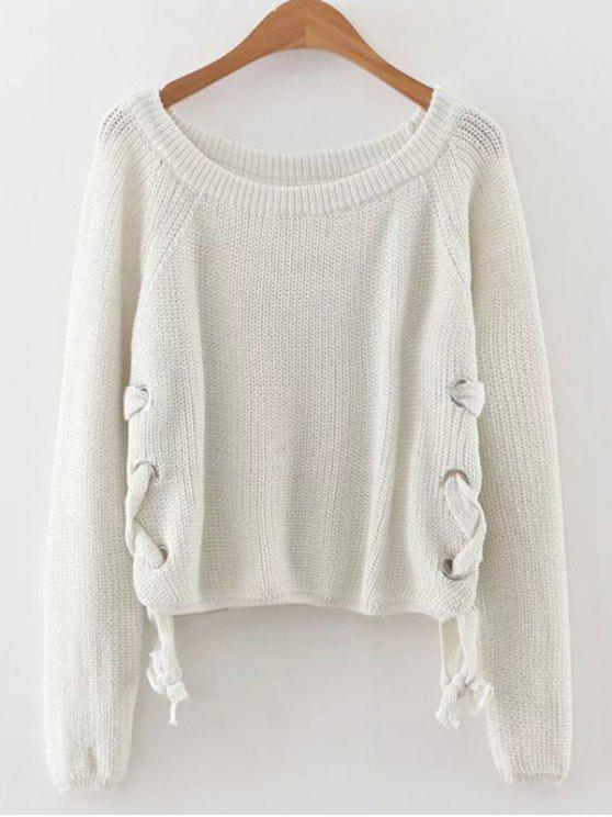 latest Grommet Lace Up Raglan Sleeve Jumper - WHITE ONE SIZE