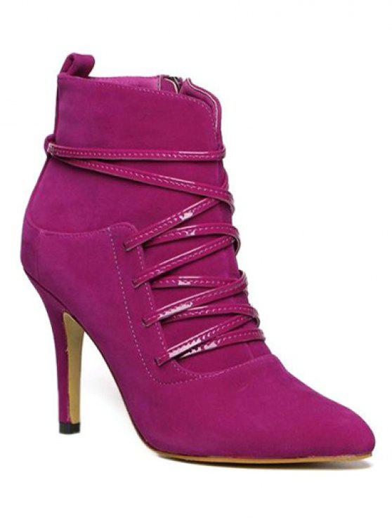 women's Cross Straps Zipper Pointed Toe Ankle Boots - ROSE RED 37
